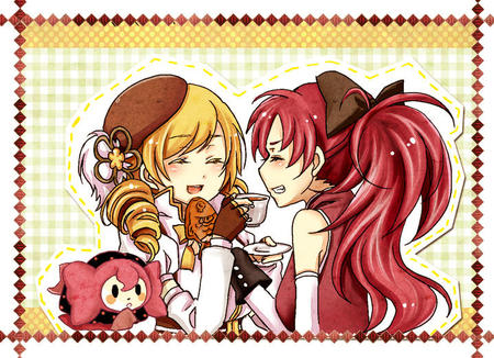 blonde gloves hat ponytail puella_magi_madoka_magica redhead tea tomoe_mami twintails // 718x520 // 190.6KB