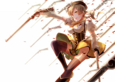 blonde boots dress gloves hat puella_magi_madoka_magica rifle thighhighs tomoe_mami twintails // 1315x945 // 416.6KB