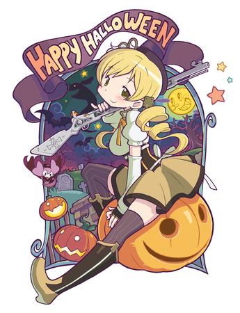 blonde boots dress gloves halloween hat jack-o-lantern puella_magi_madoka_magica rifle thighhighs tomoe_mami twintails // 920x1200 // 637.6KB