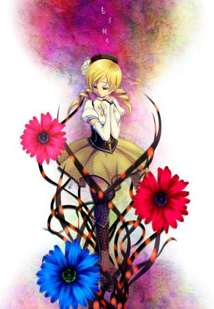 blonde boots dress flower hat puella_magi_madoka_magica thighhighs tomoe_mami twintails // 831x1200 // 217.7KB