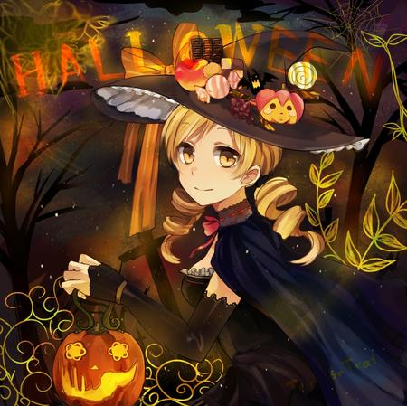 blonde cape dress halloween hat jack-o-lantern puella_magi_madoka_magica tomoe_mami twintails witch // 1001x999 // 270.9KB