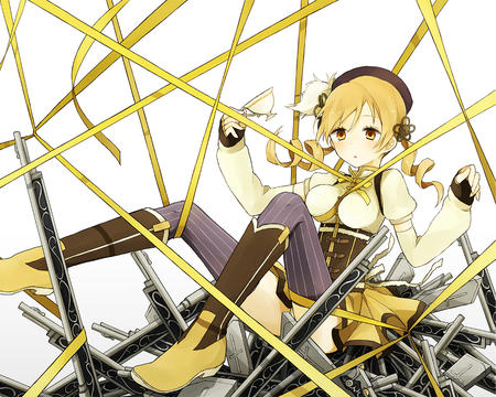 blonde boots dress gloves hat puella_magi_madoka_magica ribbon tea thighhighs tomoe_mami twintails // 1125x900 // 1.0MB