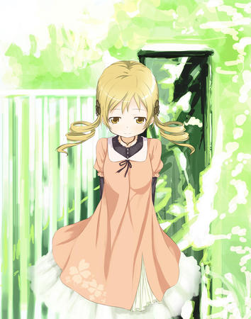 blonde dress puella_magi_madoka_magica tomoe_mami twintails // 1100x1400 // 845.5KB