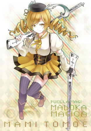 blonde boots dress gloves hat puella_magi_madoka_magica rifle thighhighs tomoe_mami twintails // 1100x1588 // 1.6MB