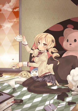 blonde puella_magi_madoka_magica school_uniform short_skirt skirt tea thighhighs tomoe_mami twintails // 1906x2700 // 544.5KB