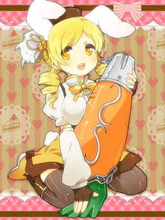 blonde boots bunny carrot dress gloves hat puella_magi_madoka_magica thighhighs tomoe_mami twintails // 750x1000 // 344.4KB