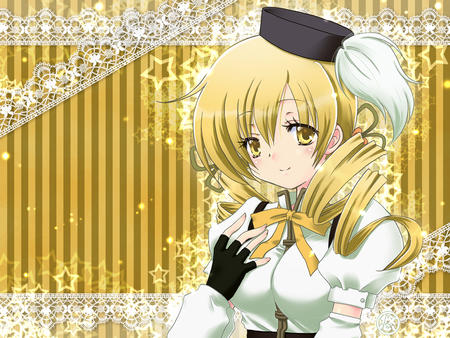 blonde gloves hat puella_magi_madoka_magica tomoe_mami twintails // 1024x768 // 735.6KB