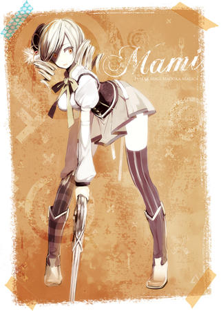 blonde boots dress hat puella_magi_madoka_magica rifle thighhighs tomoe_mami twintails // 1000x1400 // 507.9KB