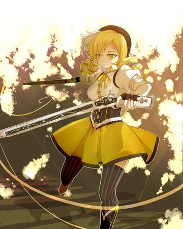 blonde dress gloves hat puella_magi_madoka_magica rifle thighhighs tomoe_mami twintails // 700x875 // 393.9KB