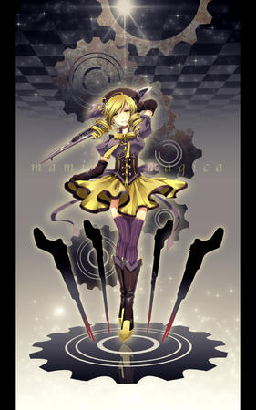 blonde boots dress hat puella_magi_madoka_magica rifle thighighs tomoe_mami twintails // 1000x1600 // 356.7KB