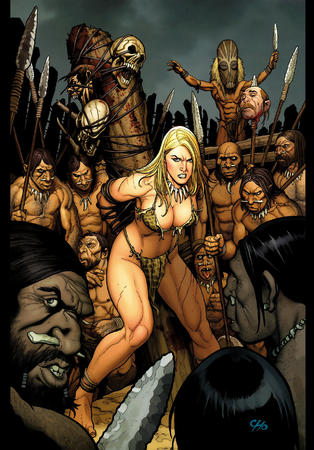 barbarian barefoot bikini blonde cleavage jungle_girl spear // 1280x1835 // 945.9KB