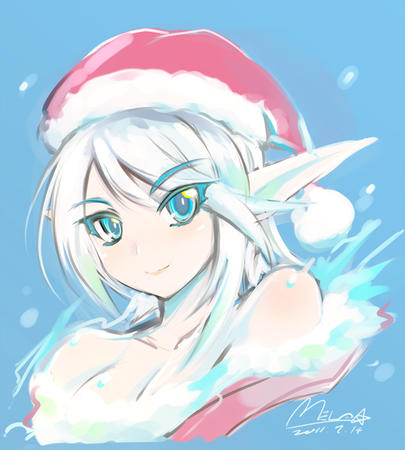 blue_eyes elf hat santa // 720x800 // 191.2KB