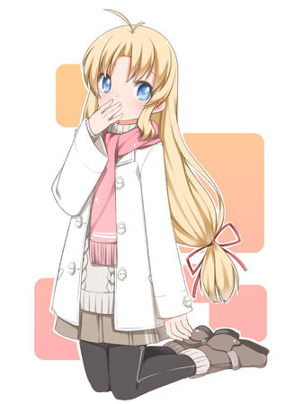 blonde blue_eyes jacket long_hair scarf short_skirt skirt sweater // 1200x1600 // 545.7KB