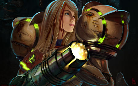 armor blonde blue_eyes long_hair metroid samus_aran // 1680x1050 // 324.7KB