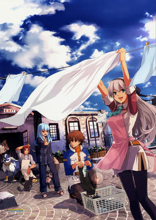 apron dress gray_hair laundry long_hair // 2100x2970 // 4.4MB