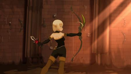bare_shoulders blonde boots bow evangeline gloves rubilax screenshot sword thighhighs wakfu // 1920x1080 // 267.0KB