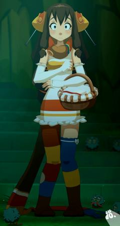 basket brunette dress gloves scarf screenshot thighhighs wakfu // 748x1406 // 916.3KB