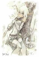 blonde bow cra monochrome sketch wakfu // 875x1251 // 369.6KB