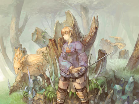 blonde boots chocobo fft final_fantasy ponytail ramza sword thighhighs // 1000x749 // 390.7KB