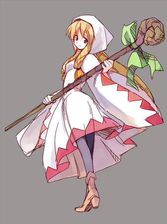 blonde boots dress fft final_fantasy hood long_hair staff white_mage // 597x800 // 323.6KB