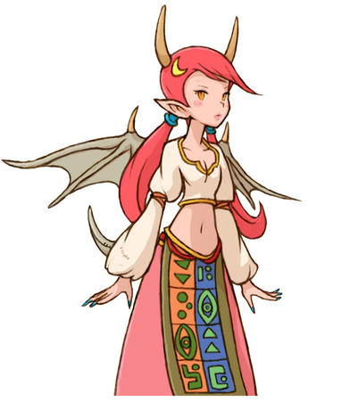fft final_fantasy horns long_hair long_skirt redhead skirt tail wings // 670x770 // 65.6KB