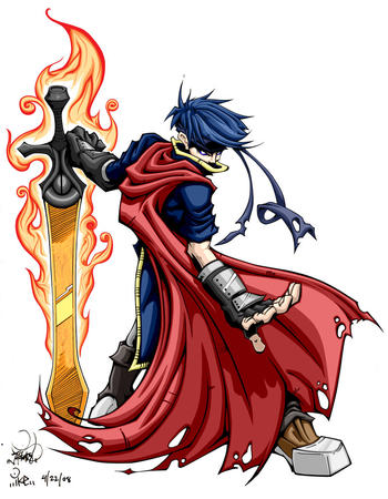 blue_hair boots cape fire gloves huge_weapon sword // 800x1030 // 192.9KB