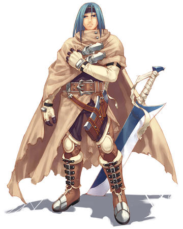 blue_hair boots cape cleaver gloves sword // 800x1000 // 122.2KB