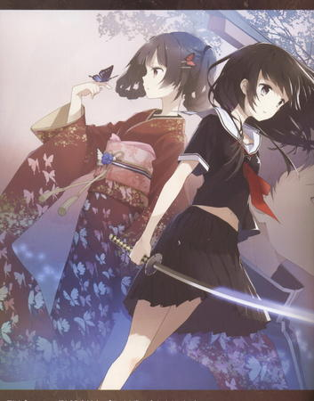 brunette butterfly katana kimono school_uniform seifuku skirt sword // 1271x1621 // 395.1KB