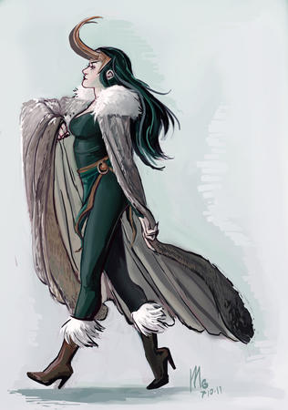 boots brunette cape high_heels horns loki long_hair marvel // 585x834 // 235.8KB