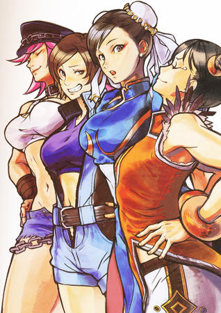 brown_eyes brunette chun-li cut-offs dress group hat king_of_fighters pink_hair poison short_shorts shorts street_fighter // 1280x1813 // 1.3MB