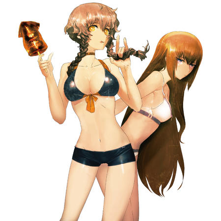 amane_suzuha bikini braids cleavage long_hair makise_kurisu redhead shorts short_shorts squid steins_gate swimsuit // 4000x4000 // 3.4MB
