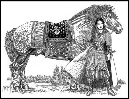 armor brunette bw cape chainmail horse sword // 779x600 // 192.5KB