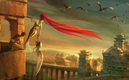 city huge_weapon long_hair ponytail redhead skyline sword // 1280x800 // 307.4KB