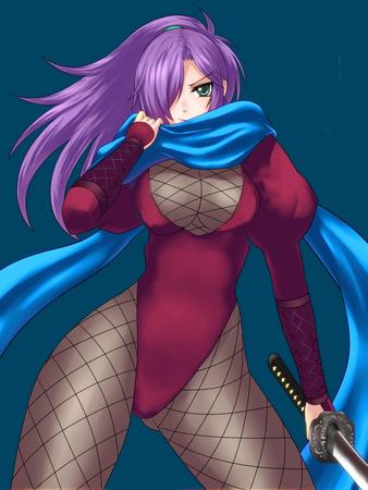 cleavage fishnet green_eyes katana ninja ponytail purple_hair scarf sword // 750x1000 // 174.6KB