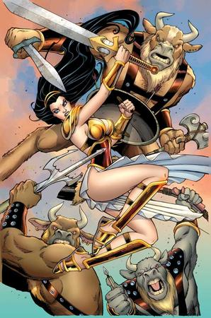 amanda_conner brunette dc greaves minotaur sandals shield sword wonder_woman // 550x830 // 88.2KB