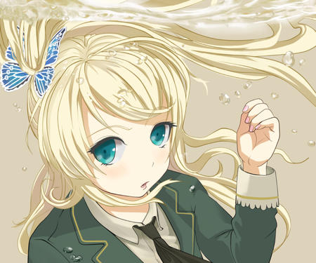 blonde blue_eyes boku_wa_tomodachi_ga_sukunai butterfly jacket kashiwazaki_sena necktie school_uniform // 1600x1333 // 752.7KB