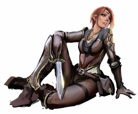 chainmail elf gloves redhead sword // 1300x1077 // 123.6KB