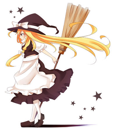 apron blonde broom dress hat long_hair witch // 1549x1745 // 588.1KB