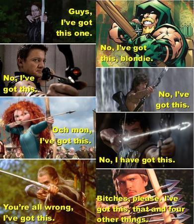 arrow avengers blonde bow brave composite dc green_arrow hawkeye hood humor hunger_games ive_got_this legolas lord_of_the_rings marvel rambo redhead robin_hood // 626x720 // 117.1KB