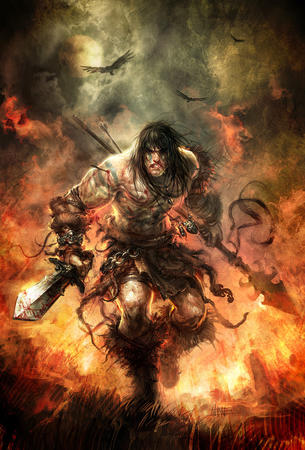 barbarian boots brunette spear sword // 700x1032 // 672.6KB
