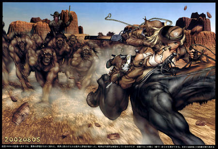 blonde cowboy gloves hat masamune_shirow rifle // 2085x1429 // 688.3KB
