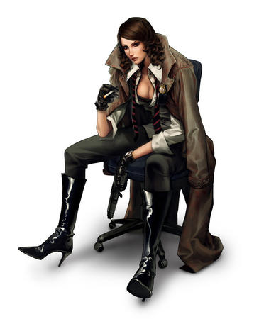 boots brown_eyes brunette cigarette cleavage coat cop gloves high_heels open_shirt // 805x993 // 91.5KB