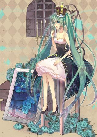 bare_shoulders blue_eyes book crown dress flower gown green_hair high_heels long_hair twintails // 1050x1485 // 2.3MB
