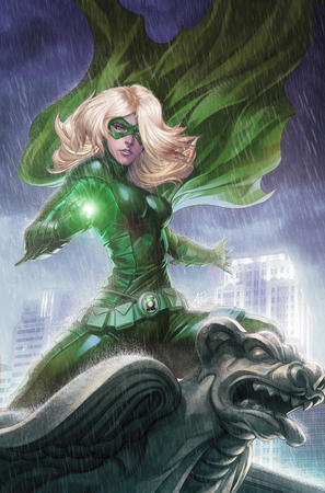 blonde cape dc gloves green_lantern jumpsuit mask // 461x699 // 129.9KB