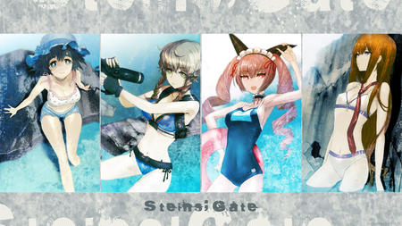 amane_suzuha bikini blue_eyes braids brunette cleavage desktop feyris gloves green_eyes gun hat makise_kurisu nekomimi pink_hair redhead school_swimsuit shiina shorts short_shorts steins_gate swimsuit // 1500x844 // 1.6MB