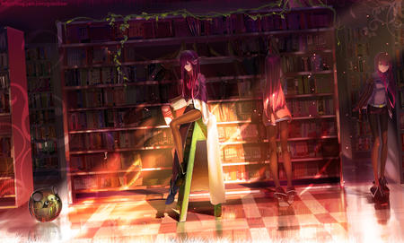 book boots headphones ladder library long_hair makise_kurisu necktie redhead shorts steins_gate sweater // 1500x903 // 1.6MB
