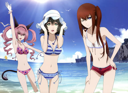 bikini brunette cleavage feyris hat makise_kurisu nekomimi pink_hair redhead shiina steins_gate swimsuit tail wink // 1500x1083 // 1.3MB