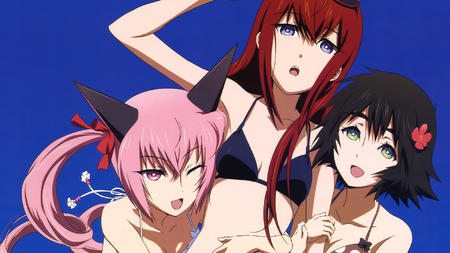 bikini blue_eyes brunette desktop feyris green_eyes makise_kurisu nekomimi pink_hair redhead shiina steins_gate swimsuit twintails wink // 1920x1080 // 973.3KB