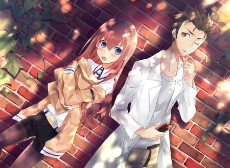 blue_eyes brunette cellphone desktop kyouma lab_coat makise_kurisu necktie redhead shorts short_shorts steins_gate sweater // 1920x1402 // 1.4MB
