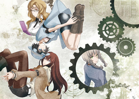 amane_suzuha blue_eyes boots braids brunette cellphone desktop dress glasses green_eyes group hat makise_kurisu redhead shiina shining_finger shorts short_shorts steins_gate sweater sweatshirt // 1600x1137 // 1.6MB